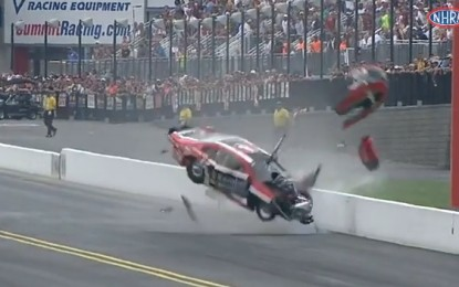 VIDEO: NHRA Pro Stock driver V Gaines' wild crash in Charlotte